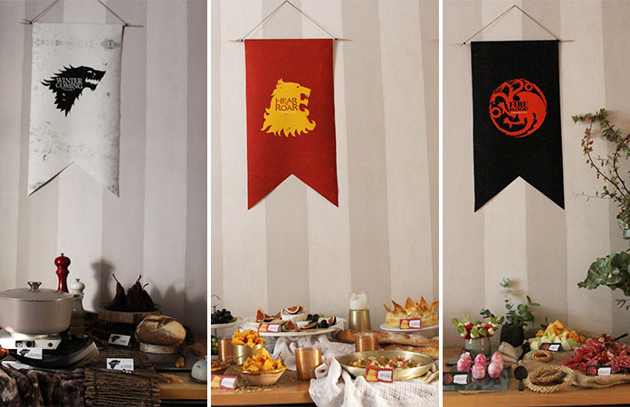 Games of thrones d coration de buffet 3 maisons stark lannister et targaryen tomate for Decoration maison games