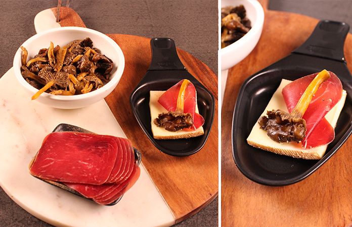 champignons - viande de grison raclette