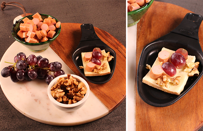 fromage knacki raisins noix