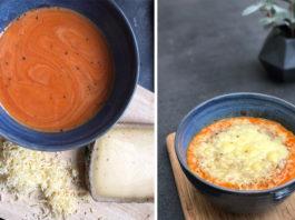 Soupe tomate et lentilles corail gratinée