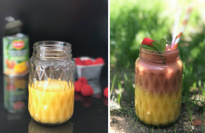 Smoothies pêches framboises