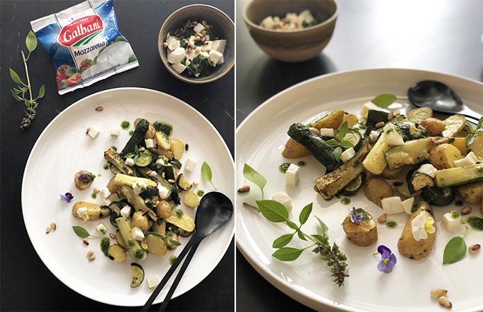 Salade de pomme de terre, pesto et mozzarellaSalade de pomme de terre, pesto et mozzarella