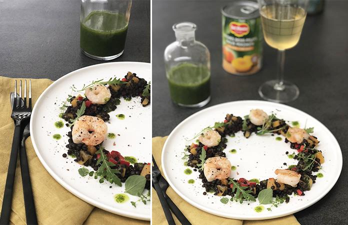 Salade de lentilles aux scampis