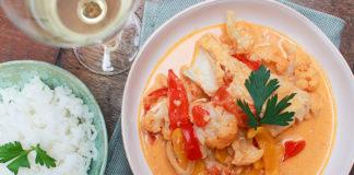 Curry de légumes au cabillaud