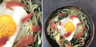 Spaghettis aux épinards et œuf sur le plat