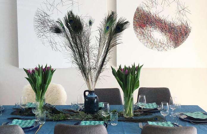 Table plume de paon