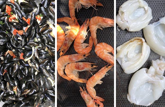 Moules, gambas et seiches | 3 recettes poissons à la plancha